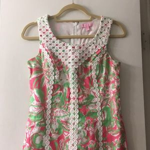 Lilly Pulitzer Shift Pink Green Lace Down Front 4